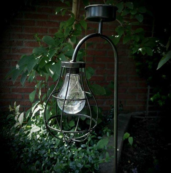 Solar tuinsteker hanglantaarn zwart