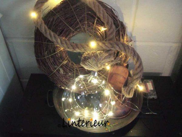 Kerstbal met led aan touw 1
